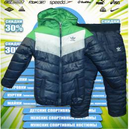 Adidas куртка детская зима (тем.синий+зеленый)