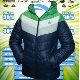 Adidas куртка подросток (синий+зеленый) 00006