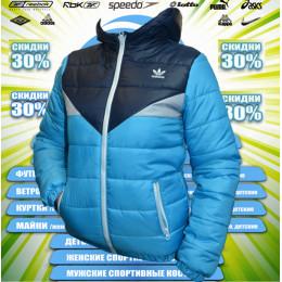 Adidas детская-подросток куртка демисезонная (цв.тем.синий+бирюза) 00014